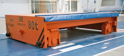 Cable reel powered transfer cart on rails